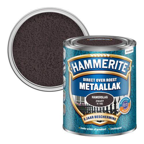 Hammerite metaalverf hamerslag glans zwart 750ml