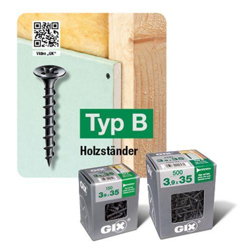 Spax schroef droge tussenwand 'GIX Type B' 40 x 3,9 mm - 125 stuks