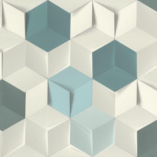 Papier peint intissé Rasch Modern Art 100,05x53cm blanc bleu
