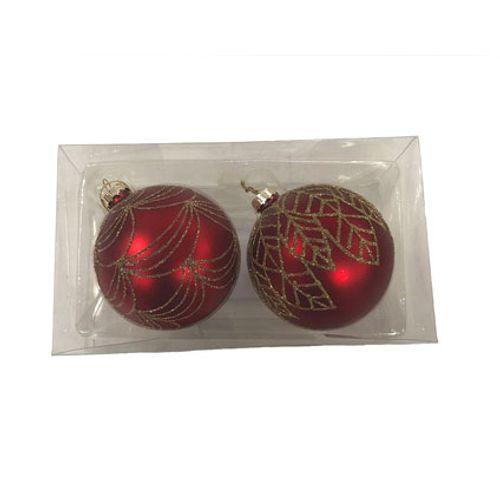 Central Park kerstballen rood 8cm 2 stuks