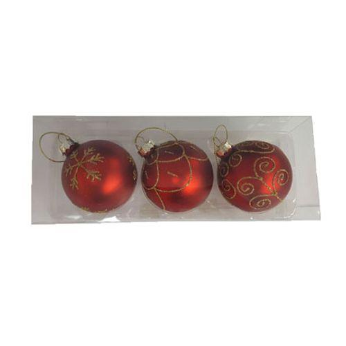 Boules de Noël rouge Central Park 3 pièces