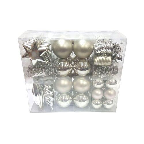 Central Park kerstballen zilver plastic 60 stuks