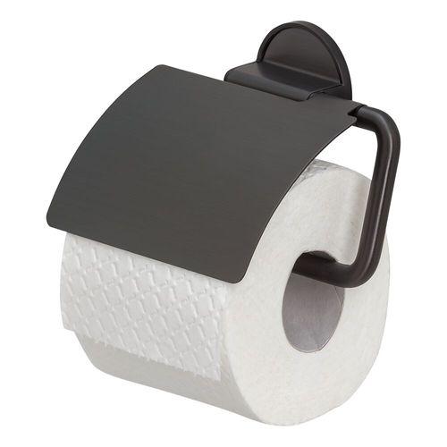 Porte-papier de toilette + couvercle Tiger Tune noir mat à suspendre