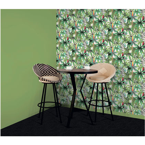 Papier peint intissé Perroq vert blanc