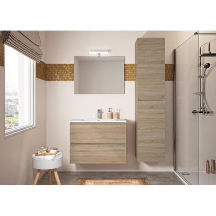 Meuble de salle de bains Allibert Bazil chêne Hamilton 80cm
