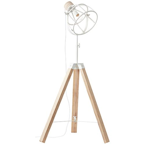 Lampadaire Brilliant Matrix Wood blanc E27