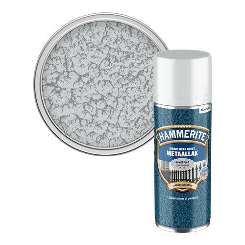 Hammerite metaalverf hamerslag zilvergrijs 400ml