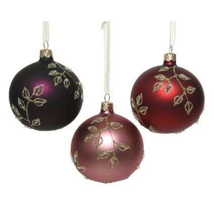 Kerstballen glas bladermotiefje 1 stuk