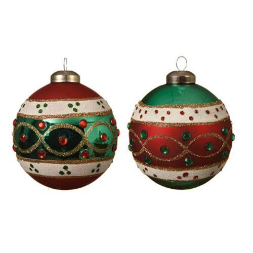 Kerstballen glas rood/groen luxe metalen 8cm