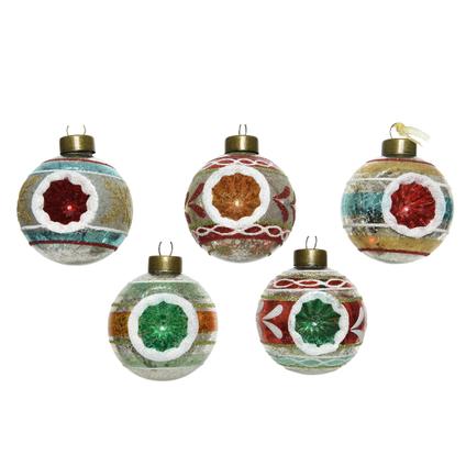 Kerstballen glas antiek rood/groen 1 stuk