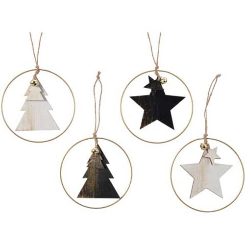 Hangertje met ring en kerstboom/ster 1 stuk