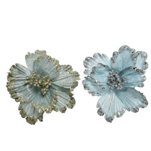 Pendentif fleur paillettes bleu clair/vert clair