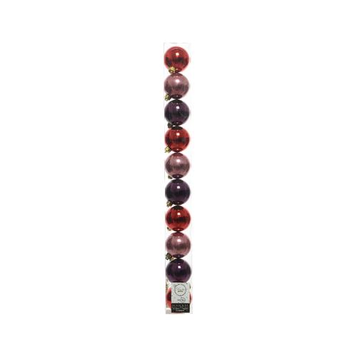 Kerstballen plastic red velvet 10 stuks
