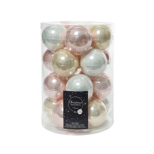 Boules de Noël verre rose clair 20 pièces