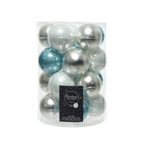 Kerstballen glas Ice Adventure 20 stuks