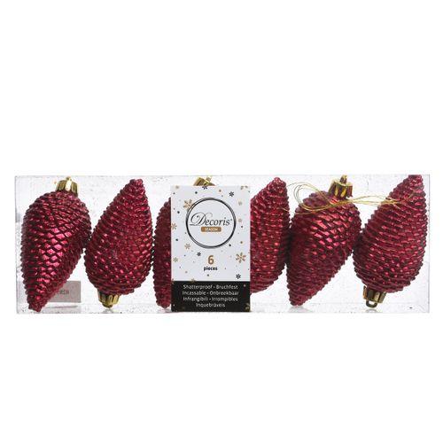 Boules de Noël pommes de pin 4,5x8cm rouge 6 pièces