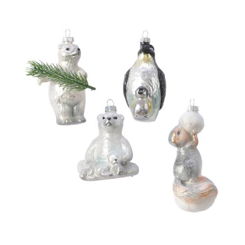 Hangertjes winterdieren glas vintage