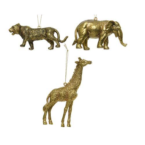Suspensions de Noël animaux Decoris plastique doré 3x12x5,5cm 1pièce