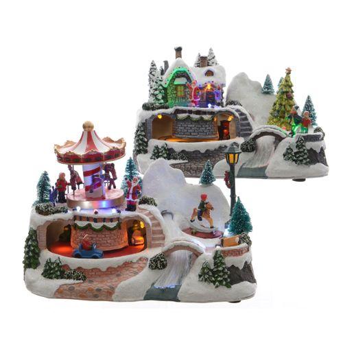 Village d'hiver avec lumières LED 16cm