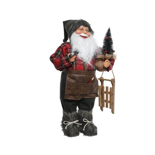 Décoration luge Père Noël charpentier