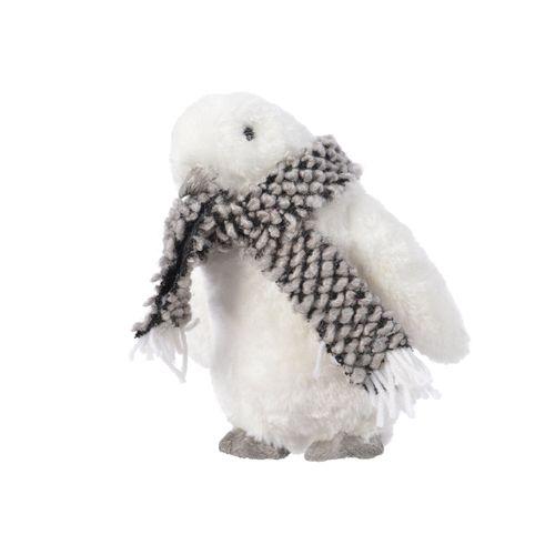 Peluche pingouin Decoris blanc 14x11cm