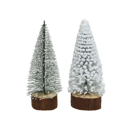 Decoratie miniboom houten voet 18cm 1 stuk