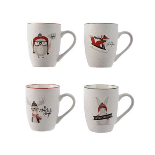 Tasse en porcelaine avec animal Noël