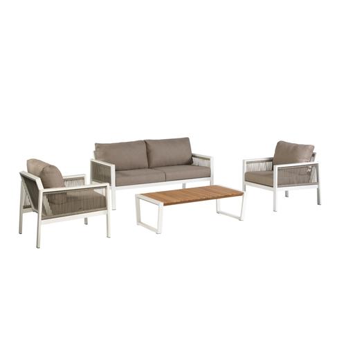 Ensemble lounge Exotan Sidney 4pcs aluminium blanc