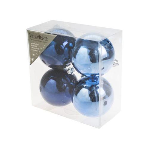 Kerstballen Shiny Blue 8cm 4 stuks