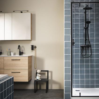 Sealskin Get Wet Contour draaideur + zijwand 90x90x200cm zwart helder veiligheidsglas 6mm