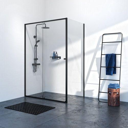 Sealskin Get Wet Contour porte coulissante + paroi latérale 120x90x200cm noir verre de sécurité clair 6mm