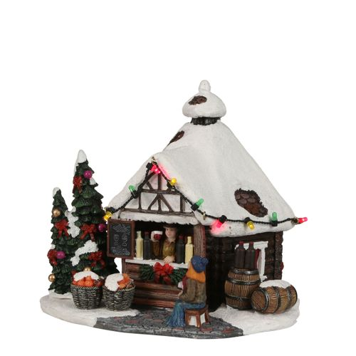 Figurine de Noël Gluhwein Shed sur piles 8x7cm