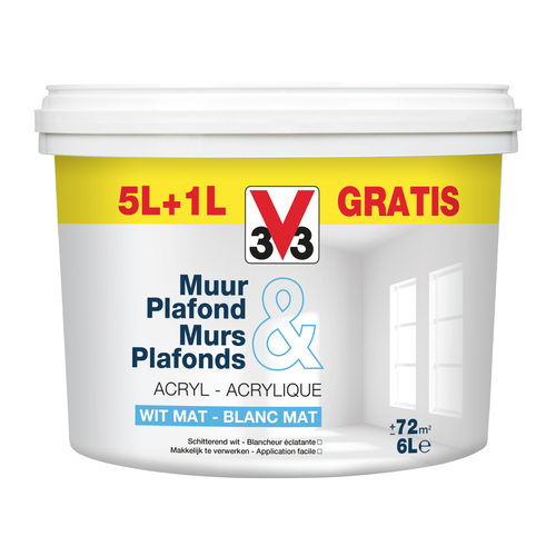 V33 Muur & plafond promopack Wit Mat 5L + 1L