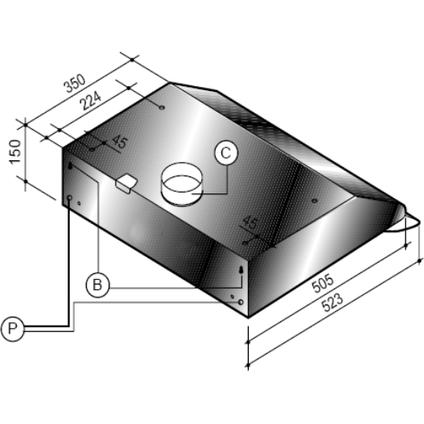 Electrum onderbouw afzuigkap UH611LX RVS 60cm
