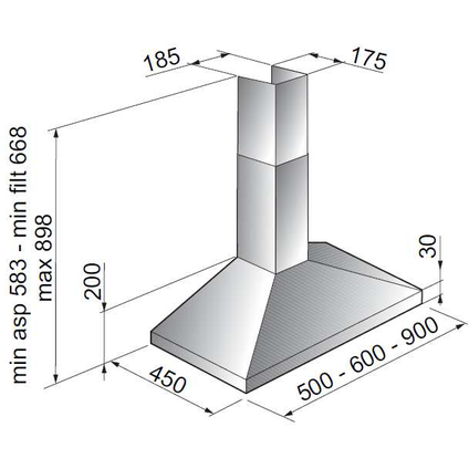 Electrum schouwafzuigkap CH912LX RVS 90cm