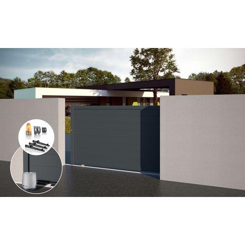 Gardengate grijs antraciet aluminium schuifpoort Nisa 325x181cm + SOMFY motoriseringskit