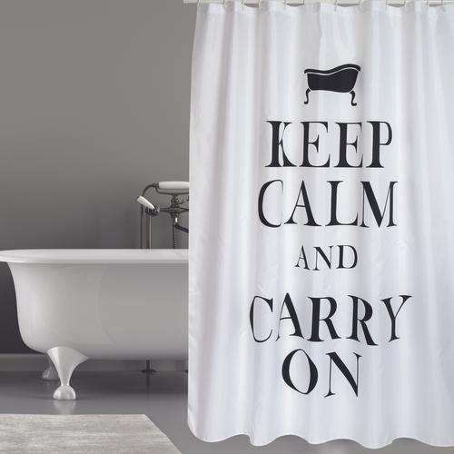 MSV douchegordijn Keep Calm zwart 180cm