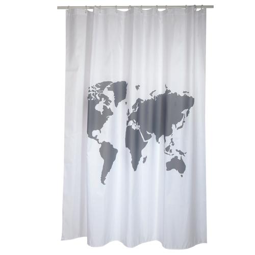 MSV douchegordijn World grijs 180cm