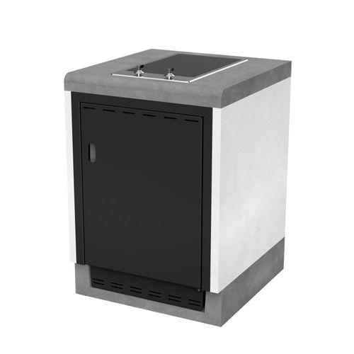 Tuozi tafel met vitrokeramische kookplaat Otte Smeg 61 beton 61x63x85cm