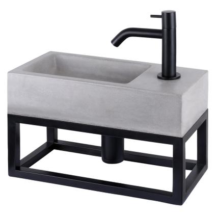 Differnz fonteinset/handdoekrek Jukon beton grijs/zwart 38,5cm