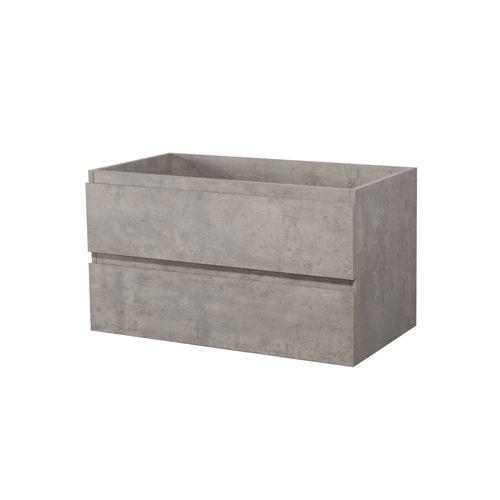 Meuble sous-lavabo Aquazuro Napoli 2 tiroirs béton gris 90cm