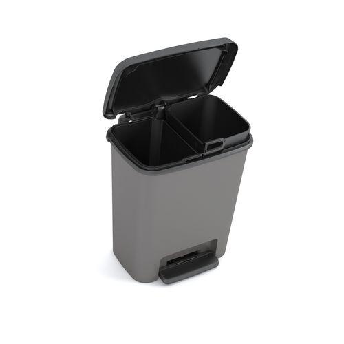 Kis Compatta afvalscheider zwart grijs 2x12L