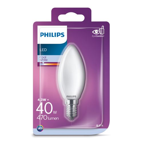 Ampoule LED bougie Philips Classic blanc froid 4,3W E14