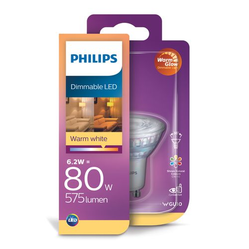 Spot LED Philips Classic WarmGlow 6,2W GU10
