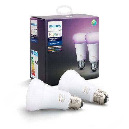 Philips Hue lamp standaard wit en gekleurd E27 2 stuks