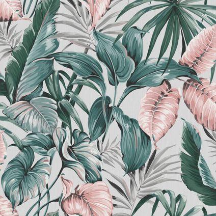 Sublime vliesbehang Leaves exotique grijs roze