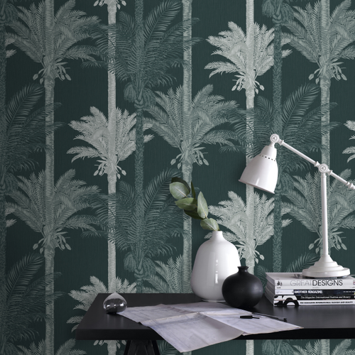 Sublime vliesbehang Palm exotique groen