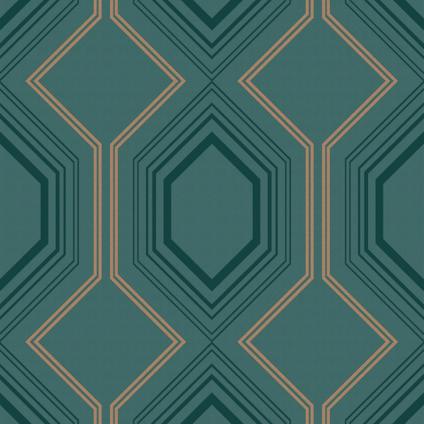 Decomode vliesbehang Art deco chic groen