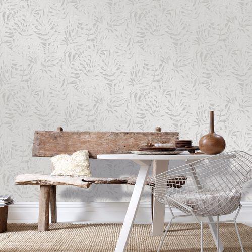 Papier peint intissé DecoMode textile feuilles gris
