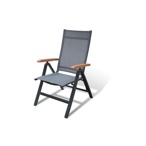 Chaise de jardin Central Park Analee aluminium/textilène gris
